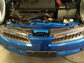 Nissan Micra bumper reinstalled top view