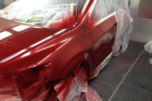 Holden barina in spray booth